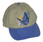 EM067C - Apparel, Embroidered Caps - Blue Butterfly