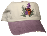 EM072C - Apparel, Embroidered Caps - Butterfly on Lavander