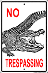 WS002 - Metal Signs, Warning Signs - No Trespass Gator