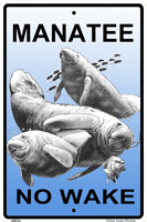 WS036 - Metal Signs, Warning Signs - Manatee No Wake