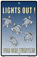 WS072 - Metal Signs, Warning Signs - Lights Out for Turtles