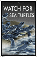 WS117 - Metal Signs, Warning Signs - Watch For Sea Turtles